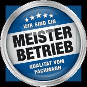 Logo mit Beschriftung: Wir sind ein Meisterbetrieb. Qualität vom Fachmann