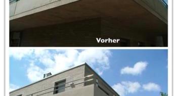 Betonkosmetik an einem Gebäude