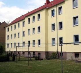 Gelbe Wohnung von außen